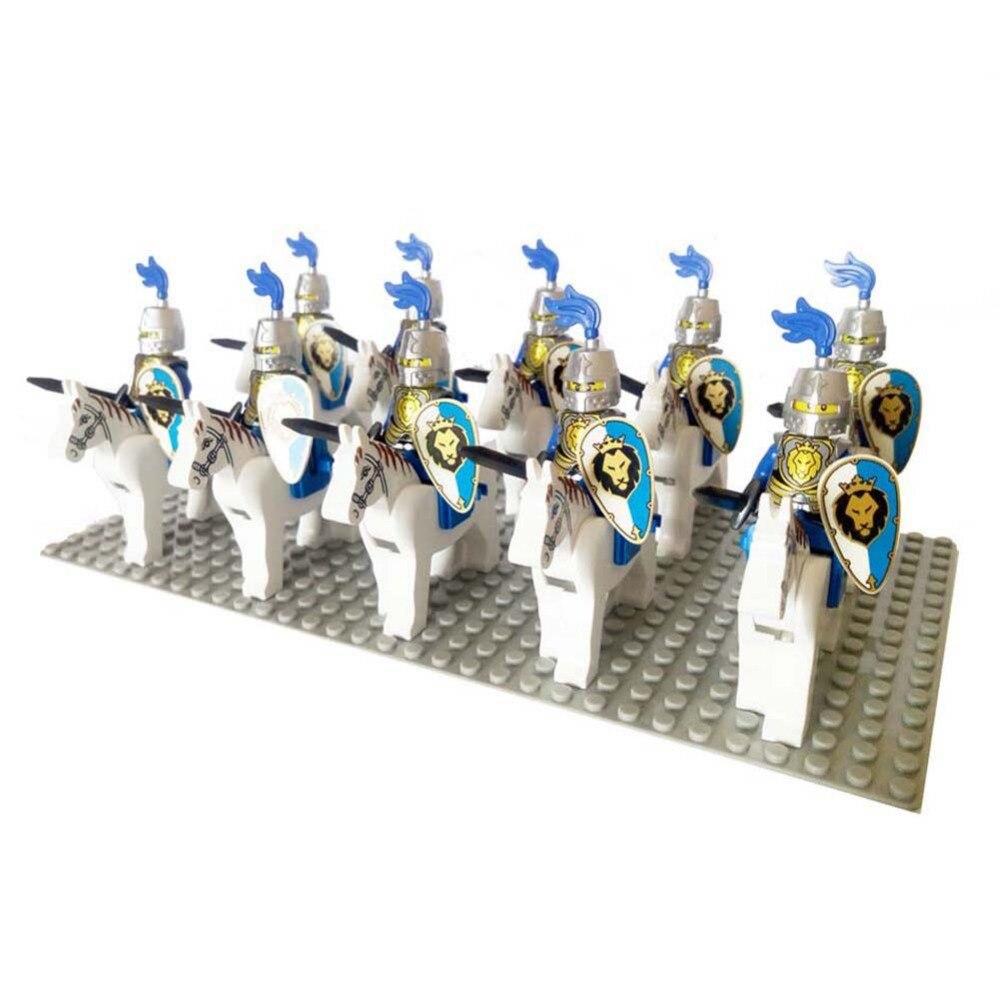 20pcs Cavalryman Medieval Age Castle Knights Lion Dragoon Slive Hawk Building Block Rome Warrior Cavalry Knight Figure