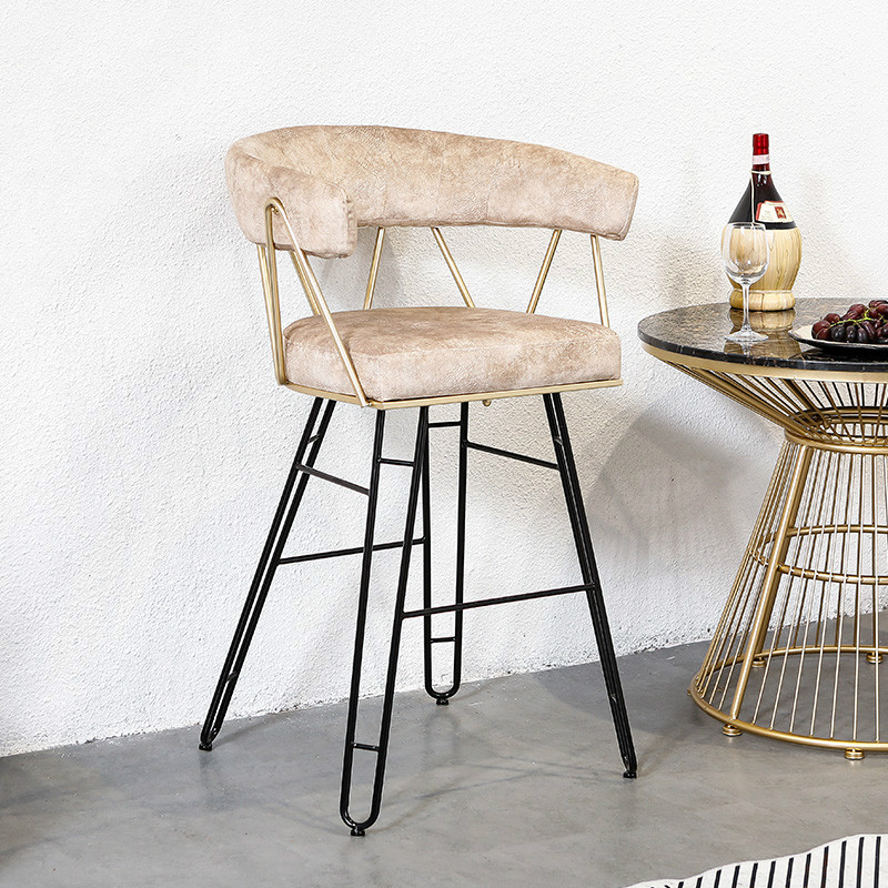 Nordic Dining Chair Bar Chair Wrought Iron Creative High Stool Front Desk Chair Simple Modern Nail Dressing Net Red Makeup Chair