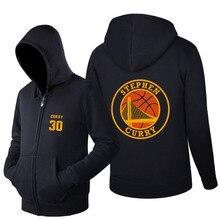 New Fashion 2016 Letter Print Men's Spring and Autumn Hoodies Stephen Curry 30 MVP fleece Printing Zipper Sweatshirts
