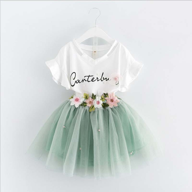 Spring New Baby Girls Clothing Set Cotton Kids Alphabet Pattern  Short Sleeve + Skirt Suit Set Children Clothes Outfits 2-6Y new mens colors short sleeve cotton tshirt henry kissinger quote absence