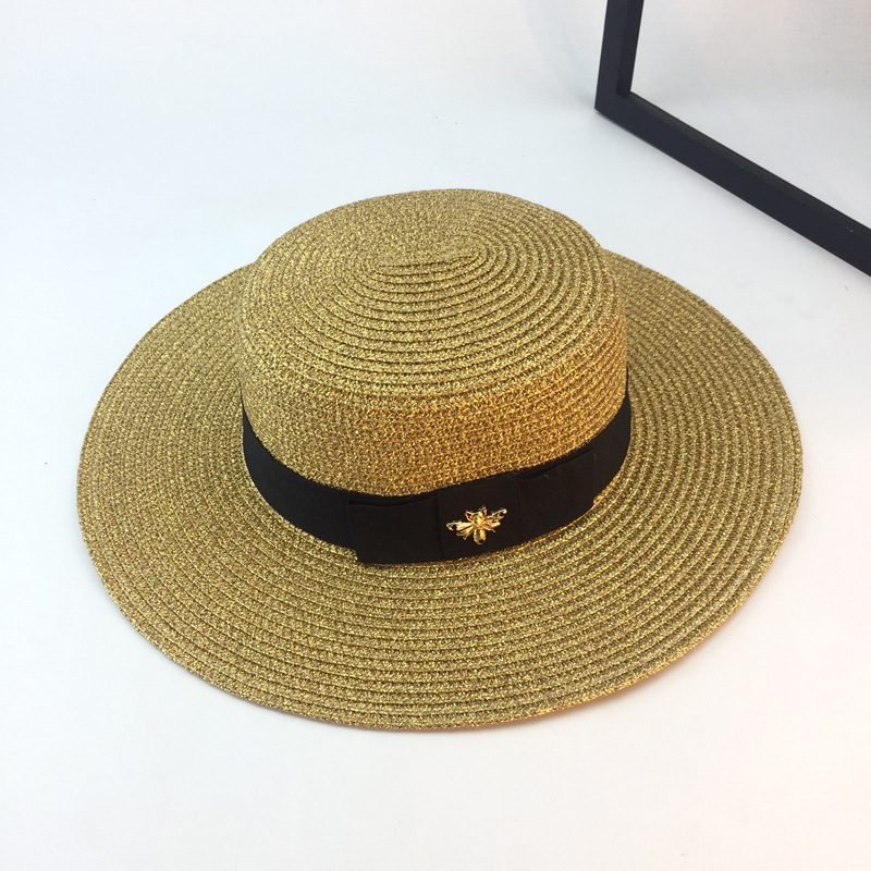 Summer Caps Handmade Weave Raffia Sun Hats For Women Black Ribbon Lace Up Large