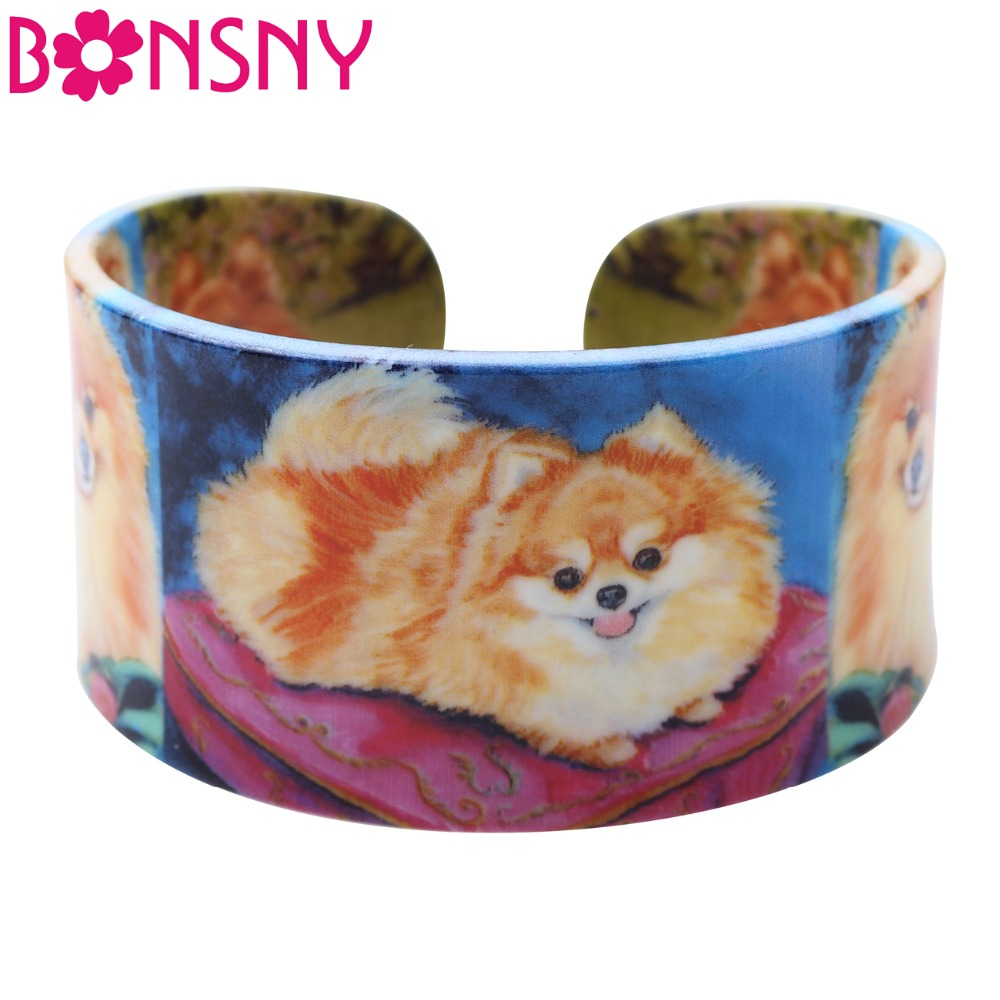 Bonsny Acrylic Colorful Pattern Pomeranian Dog Bangle News 2017 Fashion Jewelry Women Gi ...