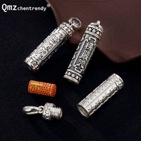 Openable S990 Sterling Silver Vintage Tube Locket Pendants Buddhist Mantra Necklace Sutra Bottle Urn Jewelry