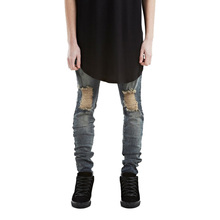 Mens Skinny Jeans 2016 Brand Designer Runway Distressed Elastic Destroyed Denim Biker Ripped Hole Jeans Men