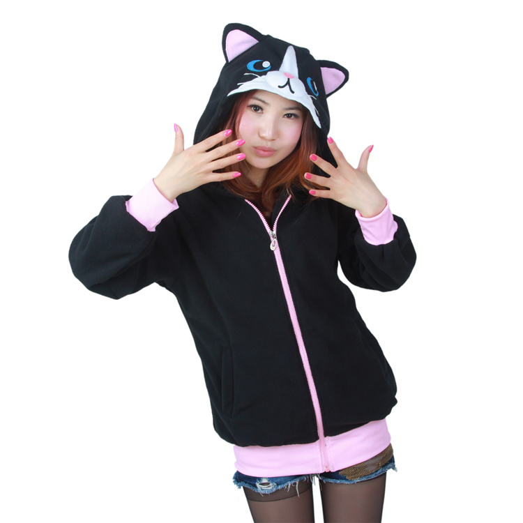 Cute Black Cat Animal Hoody Hoodie with Ears Unisex Winter Warm Fleece