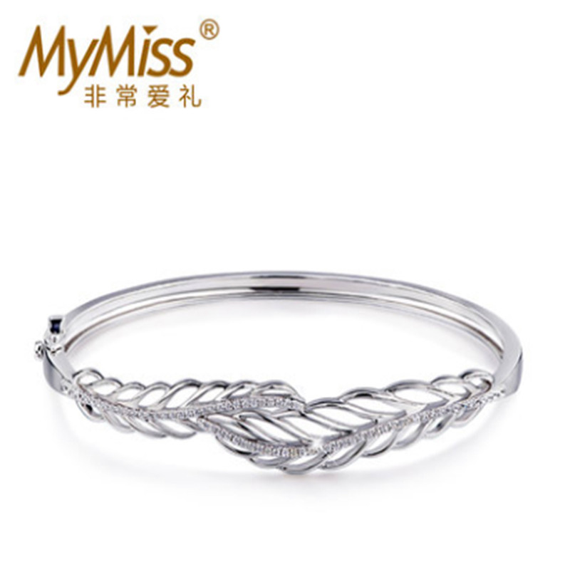 Mymiss925 silver bracelet female silver lovers bracelet opening cutout feather bracelet valentine day gift