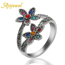Ajojewel White Gold Plated Colorful Double Flower Rhinestone Ring Women Vintage Jewellery Bijoux rhinestone vintage flower ring
