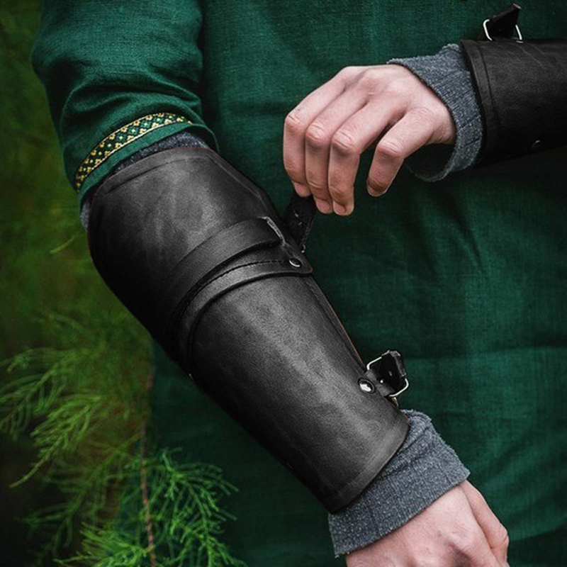 1 Pair Cosplay Props Faux Leather Wide Bracer Lace Up Arm Armor Cuff Cross String Steampunk Medieval Gauntlet Wristband 3