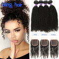8A Mongolian Kinky Curly Hair With Closure 4 Bundles Unprocessed Human Hair Weave Mongolian Kinky Curly Virgin Hair With Closure