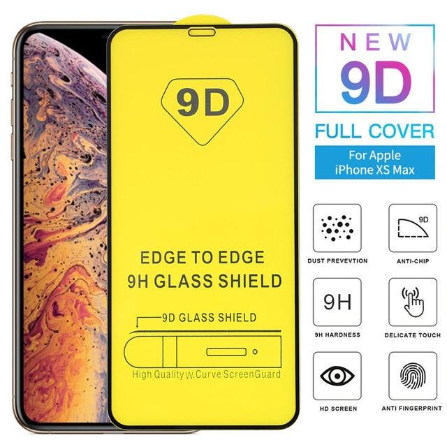 25 PCS 9D מלא דבק מעוקל מזג זכוכית עבור iPhone 11 פרו מלא מסך מגן זכוכית עבור iPhone XS XR מגן סרט