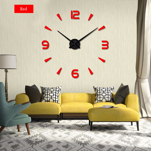 Living Room DIY large quartz Acrylic mirror wall clock, 3D Roman numerals design & Fashion Art Home Decor stickers wall Watches