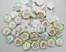 WBNLOG 26MM*27MM House Buttons wood 100pcs Mix Randomly Decorative Sewing accessory
