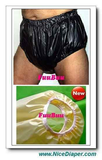 Gratis Verzending FUUBUU2217-BLACK-L-1PCS Volwassen Luiers Non Wegwerp Luier Plastic Luier Broek Pvc Shorts Abdl