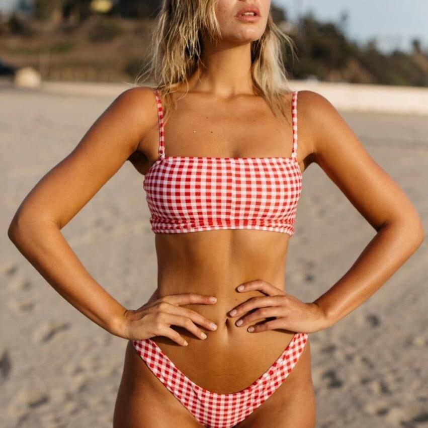 Women Dot Print Swimsuit Bikini Beachwear Swimwear Bathingsuit solid brazilian swimming bandage