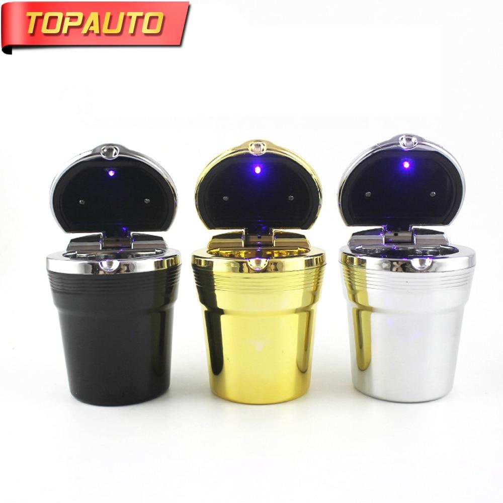TopAuto Car LED Blue Light Ashtray Auto Cigarette Holder Cup Fashion LED Car Ashtray Portable Car