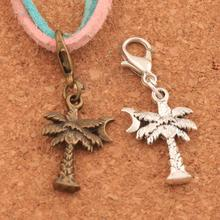 100PCS 2Colors Coconut Tree Moon Lobster Claw Clasp Charm Beads Jewelry DIY C413 34.8x14mm
