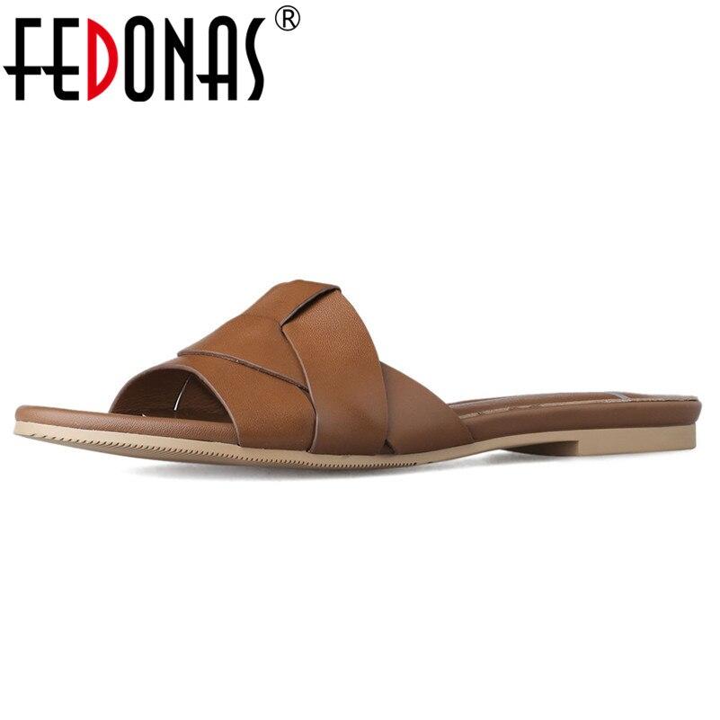 FEDONAS décontracté femmes nouveauté chaussures concises en cuir véritable chaussures de base chaussures de mode femme Rome carrés appartements-in Chaussures plates femme from Chaussures    1