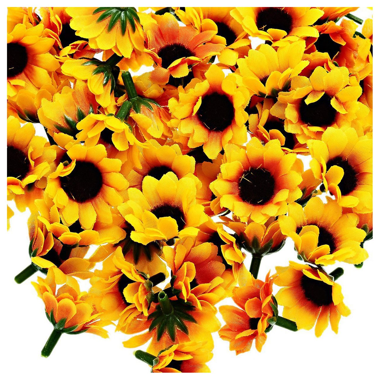 Practical boutique 100 pcs artificial sunflower little daisy gerbera flower heads for wedding party decor yellowcoffee in artificial dried practical boutique 100 pcs artificial sunflower little daisy gerbera flower heads for wedding party decor yellowcoff