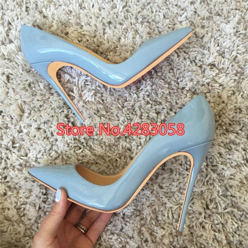 Puntiagudo Mujeres Del Tamaño La Altos Cm 12 Pie Las Dedo Dama De Azul Zapatos Size33 Cuero 43 Moda Bombas 10 Envío Gran Gratis Tacones 8 qwSOPnaqt
