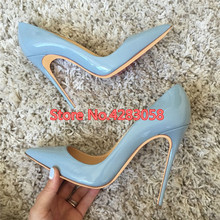 Free shipping fashion women Pumps lady Blue patent leather Pointy toe high heels shoes size33-43 12cm 10cm 8cm big size free shipping fashion women pumps sexy lady black patent leather pointy toe high heels shoes size33 43 12cm 10cm 8cm party shoes