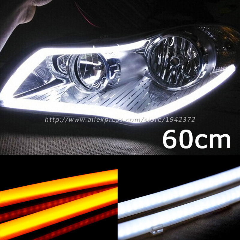 Wit Geel Rood Nieuwe 2 STKS 60 CM DRL Flexibele LED Tube Strip Dagrijverlichting Richtingaanwijzer Angel Eyes Auto Styling Parking