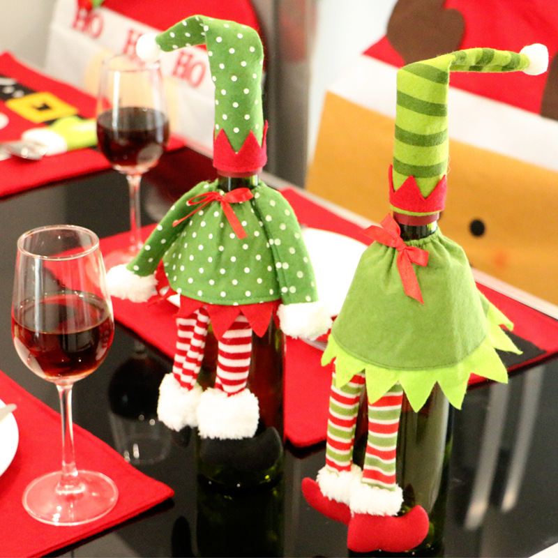 Creative Gift Bags Christmas Dot Stripe Dress Pattern Red Wine Bottle Cover Dining Table Decoration Party XMAS