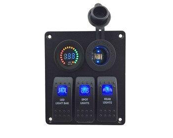 IZTOSS синий светодиод 3 банды DC12V/24 V Синий переключатель панель со светодиодной разъем питания 4.2A dual USB Вольтметр и монтажные комплекты >> IZTOSS Factory direct Store