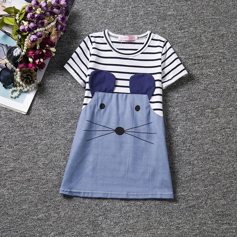 2-6 Years Children Girls Dresses Casual Striped A-Line Summer Cloth Toddler Baby Girl Dress Cartoon Denim Jeans Clothes For Kids