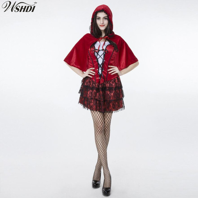 96c11d868a9 Sexy Female Halloween Little Red Riding Hood Costume Adult Women Fantasia Fancy  Dress