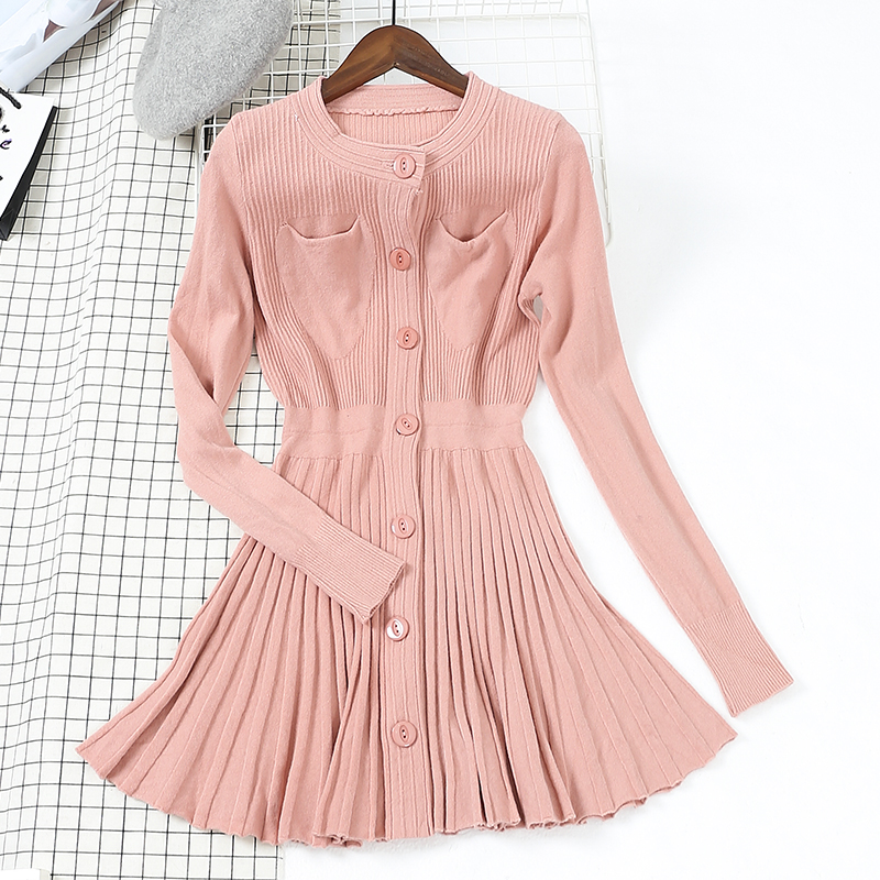 2018 Knitted Dress for Woman Spring Fall New Female High Waist Single Button Long Sleeve Sweater Pleated Dresses Sweet