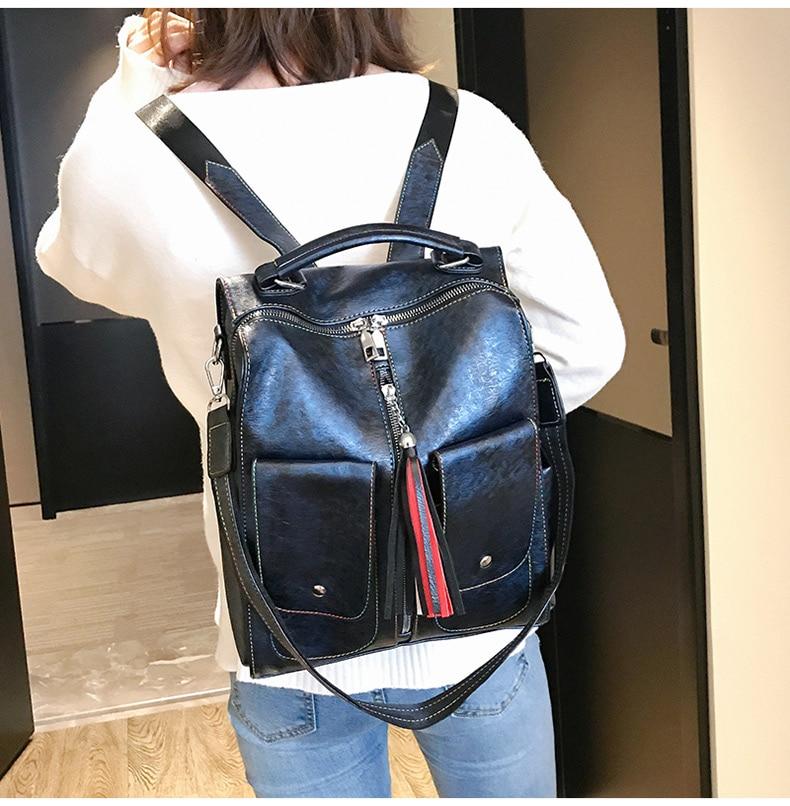 HTB10F5OaorrK1RkSne1q6ArVVXaj Retro Leather Women Backpack Zipper School Backpacks For Teenage Girls Bag Large Capacity Multifunction Mochila Feminina XA227H
