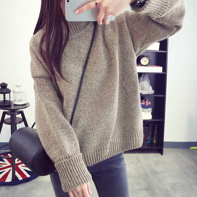 fc461a909c Women Korean Sweater Thick Coarse Wool Knitted Lantern Sleeve Tops Fashion  Casual For Spring Autumn Knitted Pullover zz116 on Aliexpress.com