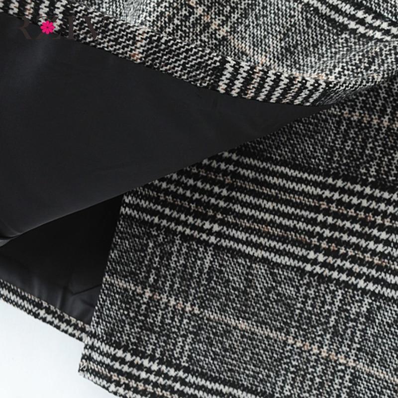 RZIV winter rock und mode frauen röcke casual plaid gefaltete rock zugeknöpft unregelmäßigen anzug rock