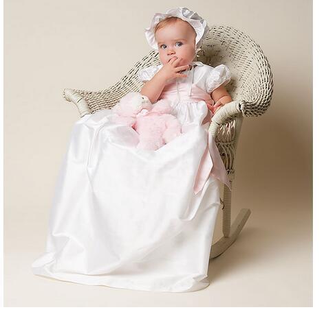 Baby Girls Christening Dress 2017 Euro Vintage Shortsleeve Long Formal Dresses Satin White Newborn Birthday Baptism Dresses