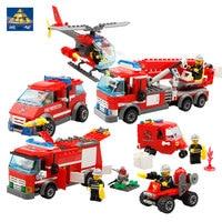 KAZI Building Blocks K8053 750pcs Fire Brigade Model Building Kits Model Toy Bricks Toys Hobbies Blocks
