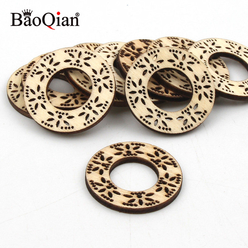 10pcs 32mm Engrave Hollow Flower Round Wood Home Decoration Diy Wooden Scrapbooking Hanging Embellishment Crafts