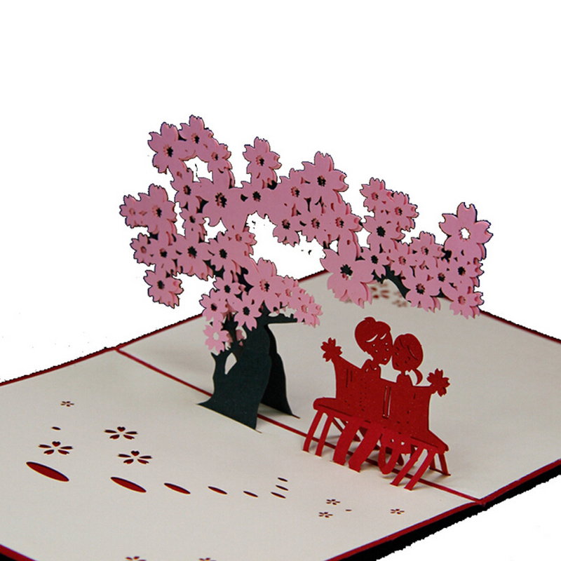 10 pieceslotfree shipping romantic cherry blossomsakura love 3d pop up greeting card love cards for valentine in cards invitations from home garden