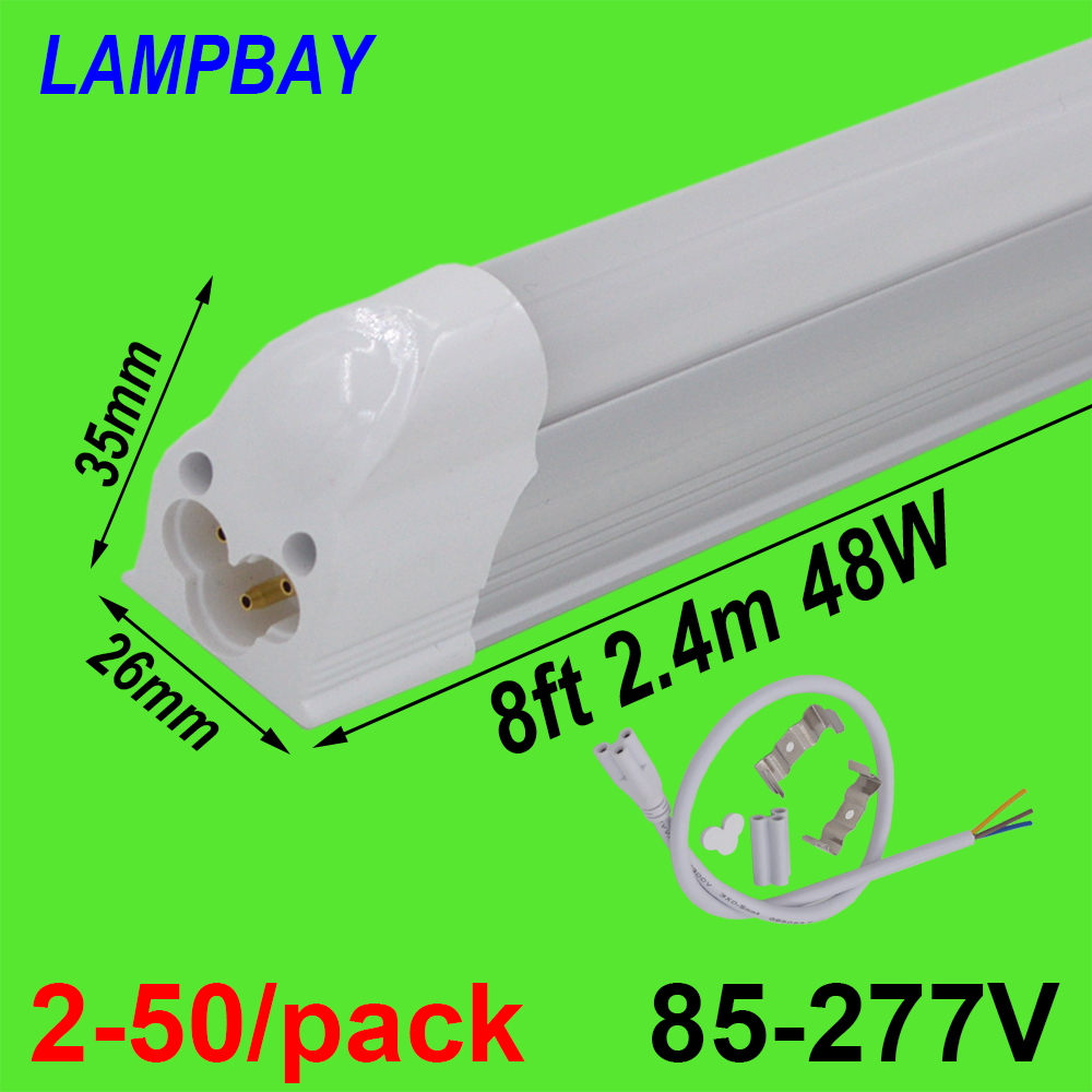 2 50 pack LED Tube Light 8ft 2 4m 40W 48W T5 Integrated Bulb with fittings