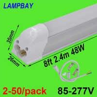 2-50/paquet LED Tube lumière 8ft 2.4 m 40 W 48 W T5 ampoule intégrée avec raccords 8 pieds luminaire Fluorescent mince lampe éclairage linéaire
