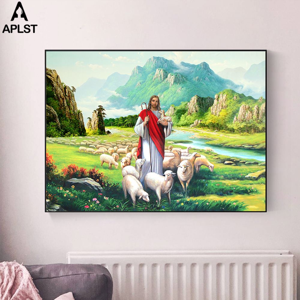 The Good Shepherd Jesus Christ Holy Lamb Canvas Prints Victorian Era Colorful Religious Art Painting Jesus Shepherd Poster Decal(China)
