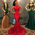 Long Red Mermaid Prom Dress 2016 Sexy O-neck Sleeveless Tight Stretch Satin Floor Length Cheap formal Prom Evening Gown