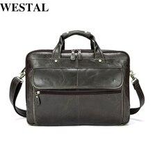 WESTAL Echtes Leder Männer Taschen Business Laptop männliche taschen herren Aktentasche lässig Tote Schulter Handtasche herren reisetasche 8897