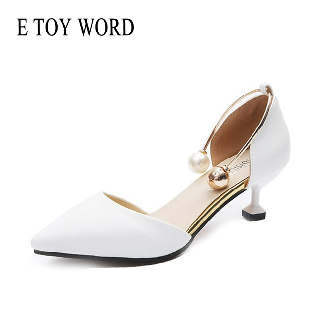 women spring low heel shoes 5cm white Elegant pearl Buckle Shallow pumps sexy pointed toe womens high heels shoes 2018