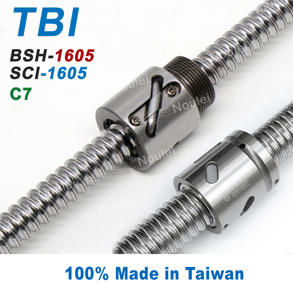 TBI C7 1605 Ball Screws 600mm with Without Flange Ballnut BSH1605 SCI1605 ball screw 16mm SCNI1605 ballscrew sfu1610 l200mm ball screws with ballnut diameter 16mm lead 10mm