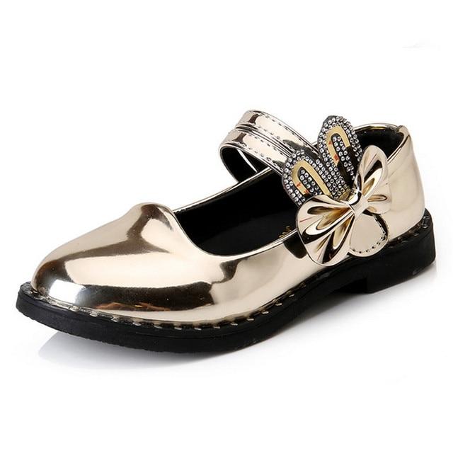 Детская Обувь Девушки Кожаные Резиновая Обувь Сладкие Девочки Принцесса Обувь Стразами Лук Дети Сандалии Мода Обувь Балерины Девушки