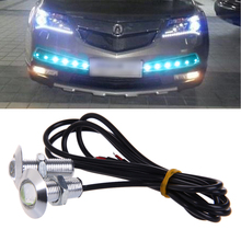 цена на 1 Pair 23mm DC 12V Eagle Eye LED Daytime Running Light Car Auto Lamp Ice Blue