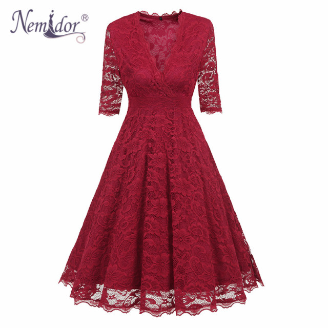 Nemidor 2018 Hot Sales Women Elegant Half Sleeve Swing A-line Dress V-neck Patchwork Midi Party Retro Lace Dress