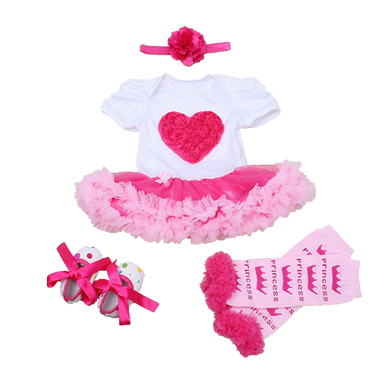Love Applique Baby Girl Summer Clothes Headband Crib Shoes Legwarmers Newborn Tutu Sets Toddler Birthday Outfits Infant Clothing
