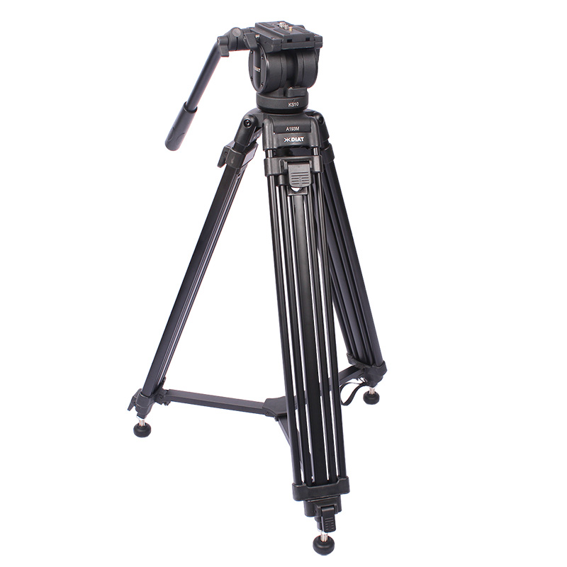 DIAT A193MKS10 Professional Aluminium Alloy Tripod 75mm Heavy Duty Video Camera Tripod with Fluid Drag Head