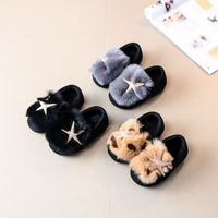 Cute Baby Fur Flats Girl Infant Loafers Rhinestones Starfish Beaded Leopard Quality Shoes Children Espadrilles Toddler